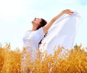 Girl Having Fun on the Wheat Field